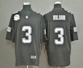 Men's Seattle Seahawks #3 Russell Wilson Black Olive 2019 Salute To Service Stitched NFL Nike Limited Jersey