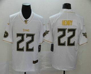 Men's Tennessee Titans #22 Derrick Henry White 100th Season Golden Edition Jersey