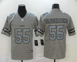 Men's Dallas Cowboys #55 Leighton Vander Esch 2019 Gray Gridiron Vapor Untouchable Stitched NFL Nike Limited Jersey