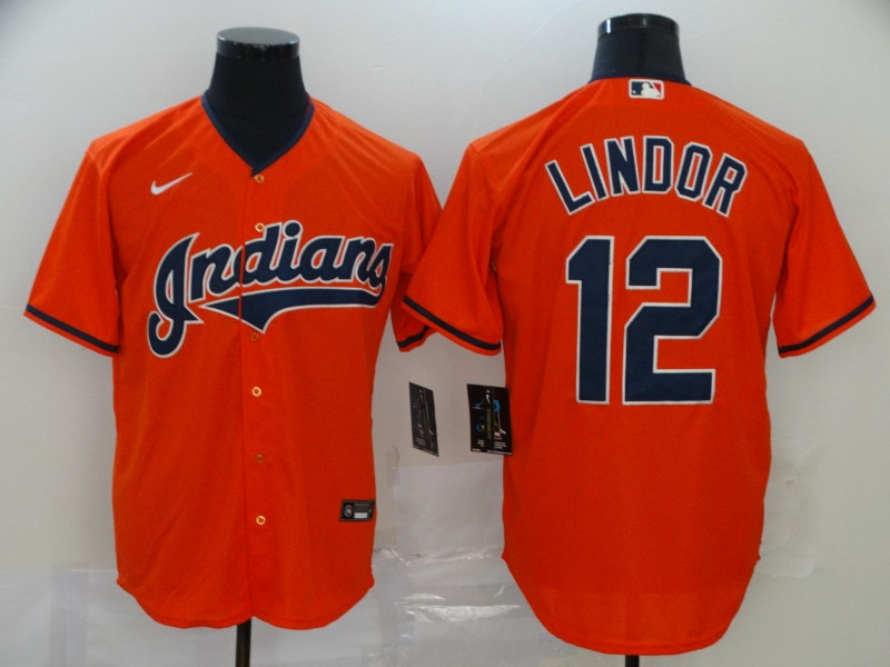 Men's Cleveland Indians #12 Francisco Lindor Orange Stitched MLB Cool Base Nike Jersey