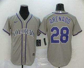 Men's Colorado Rockies #28 Nolan Arenado Gray Stitched MLB Cool Base Nike Jersey