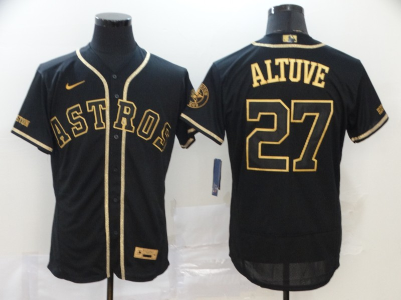 Men's Houston Astros #27 Jose Altuve Black Gold Stitched MLB Flex Base Nike Jersey
