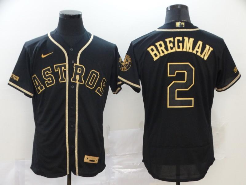 Men's Houston Astros #2 Alex Bregman Black Gold Stitched MLB Flex Base Nike Jersey