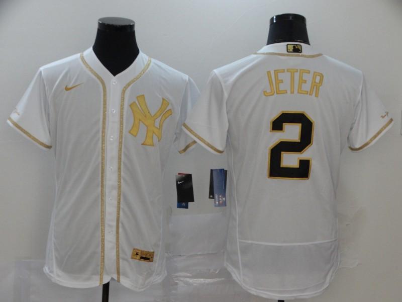 Men's New York Yankees #2 Derek Jeter White Golden Stitched MLB Flex Base Nike Jersey