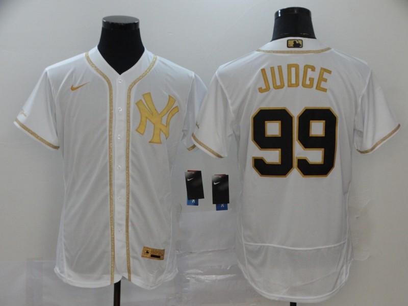 Men's New York Yankees #99 Aaron Judge White Golden Stitched MLB Flex Base Nike Jersey