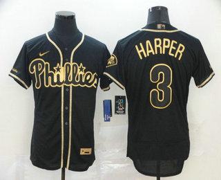 Men's Philadelphia Phillies #3 Bryce Harper Black Golden Stitched MLB Flex Base Nike Jersey