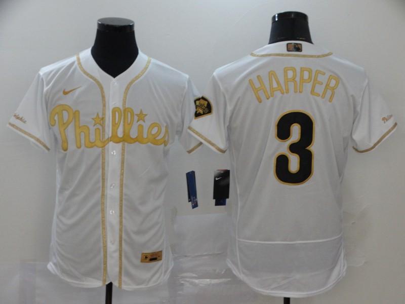 Men's Philadelphia Phillies #3 Bryce Harper White Golden Stitched MLB Flex Base Nike Jersey