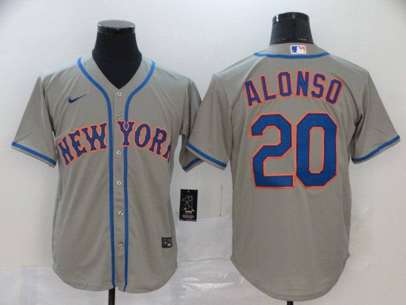 Men's New York Mets #20 Pete Alonso Gray Stitched MLB Cool Base Nike Jersey