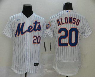 Men's New York Mets #20 Pete Alonso White Stitched MLB Flex Base Nike Jersey
