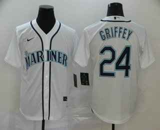 Men's Seattle Mariners #24 Ken Griffey Jr. White Stitched MLB Cool Base Nike Jersey
