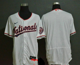 Men's Washington Nationals Blank White Stitched MLB Flex Base Nike Jersey