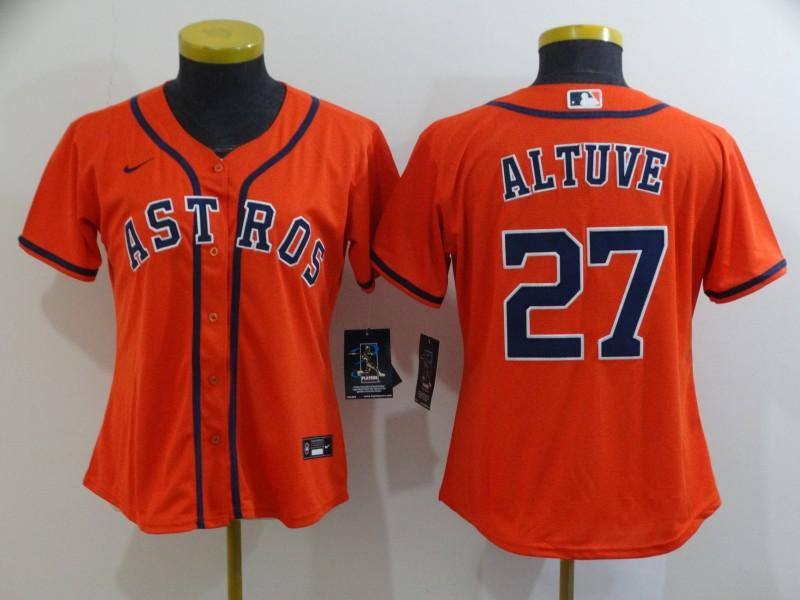 Women's Houston Astros #27 Jose Altuve Orange Stitched MLB Cool Base Nike Jersey