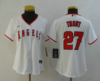 Women's Los Angeles Angels #27 Mike Trout White Stitched MLB Cool Base Nike Jersey