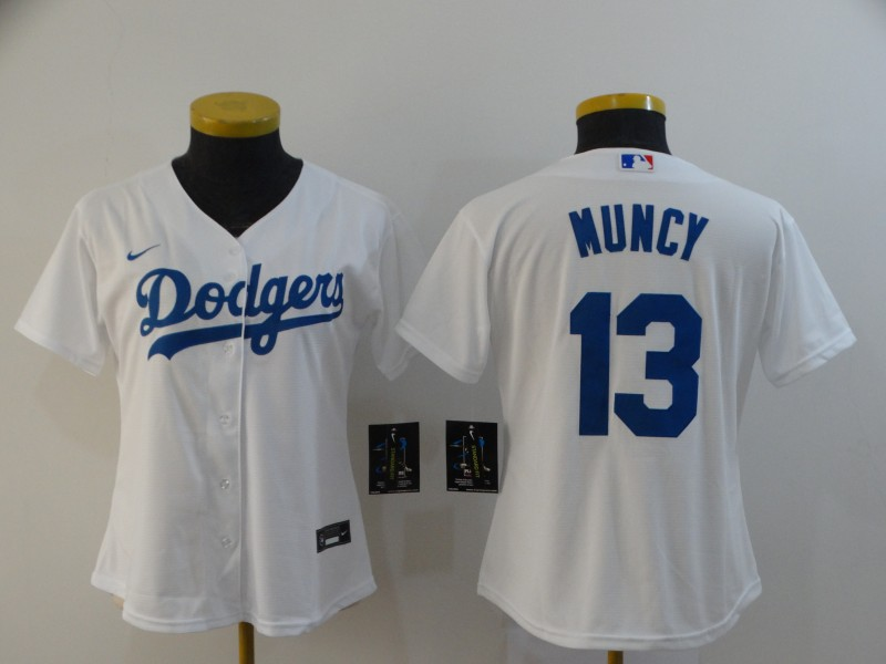 Women's Los Angeles Dodgers #13 Max Muncy White Stitched MLB Cool Base Nike Jersey