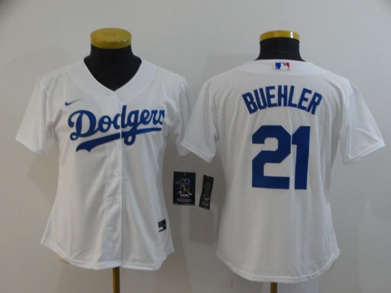 Women's Los Angeles Dodgers #21 Walker Buehler White Stitched MLB Cool Base Nike Jersey