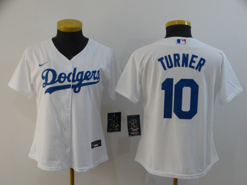 Women's Los Angeles Dodgers #10 Justin Turner White Stitched MLB Cool Base Nike Jersey