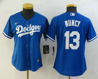 Women's Los Angeles Dodgers #13 Max Muncy Blue Stitched MLB Cool Base Nike Jersey