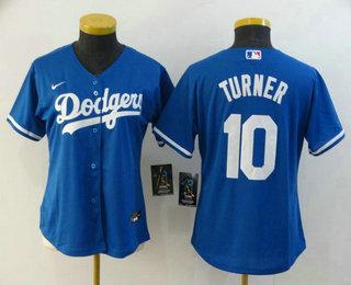 Women's Los Angeles Dodgers #10 Justin Turner Blue Stitched MLB Cool Base Nike Jersey