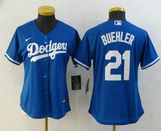Women's Los Angeles Dodgers #21 Walker Buehler Blue Stitched MLB Cool Base Nike Jersey