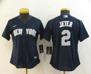 Women's New York Yankees #2 Derek Jeter Navy Blue Stitched MLB Cool Base Nike Jersey