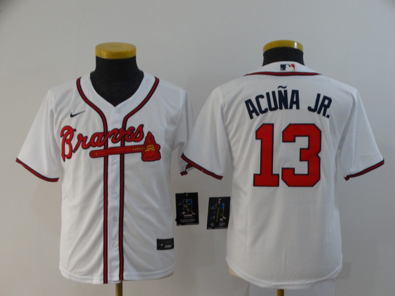 Youth Atlanta Braves #13 Ronald Acuna Jr. White Stitched MLB Cool Base Nike Jersey