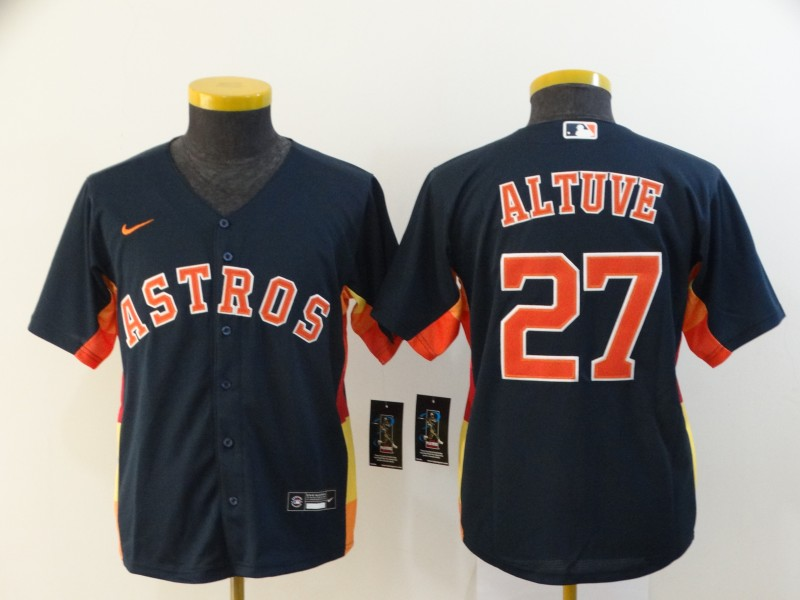 Youth Houston Astros #27 Jose Altuve Navy Blue Stitched MLB Cool Base Nike Jersey