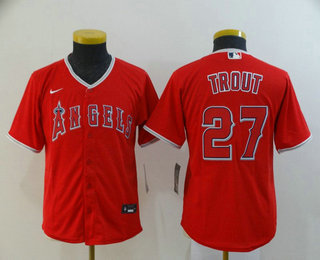 Youth Los Angeles Angels #27 Mike Trout Red Stitched MLB Cool Base Nike Jersey