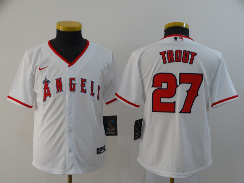 Youth Los Angeles Angels #27 Mike Trout White Stitched MLB Cool Base Nike Jersey