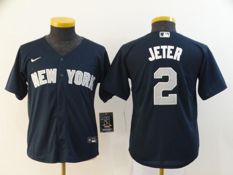 Youth New York Yankees #2 Derek Jeter Navy Blue Stitched MLB Cool Base Nike Jersey