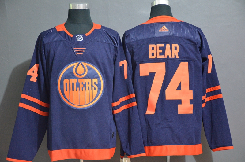 Men's Edmonton Oilers #74 Ethan Bear Navy Blue Adidas Stitched NHL Jersey