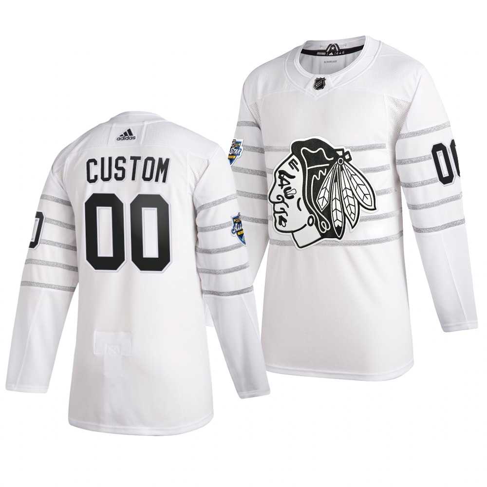 Men's 2020 NHL All-Star Game Chicago Blackhawks Custom Authentic adidas White Jersey