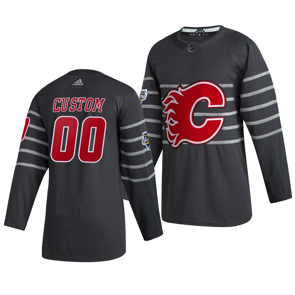 Men's 2020 NHL All-Star Game Calgary Flames Custom Authentic adidas Gray Jersey