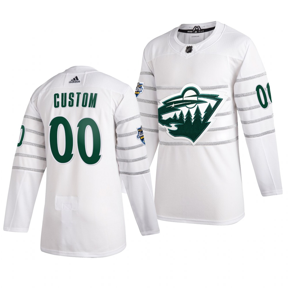 Men's 2020 NHL All-Star Game Minnesota Wild Custom Authentic adidas White Jersey
