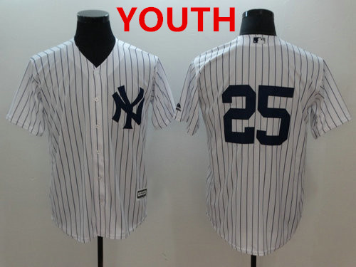 Youth New York Yankees #25 Gleyber Torres White Cool Base Jersey