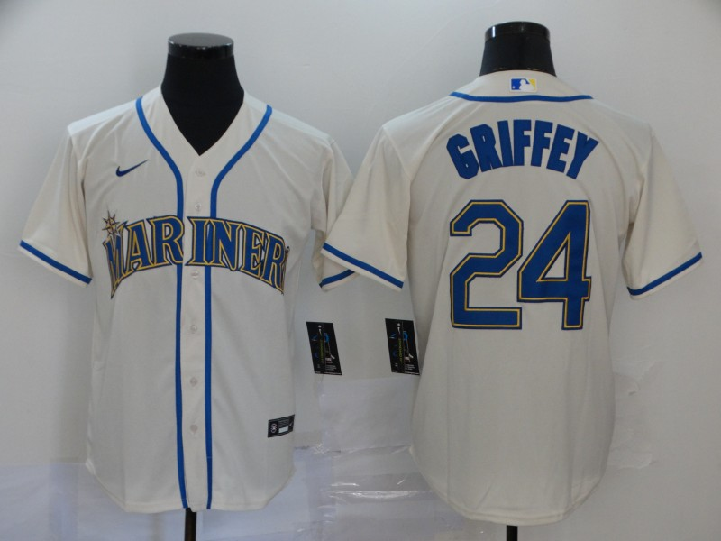 Men's Seattle Mariners #24 Ken Griffey Jr. Cream Stitched MLB Cool Base Nike Jersey