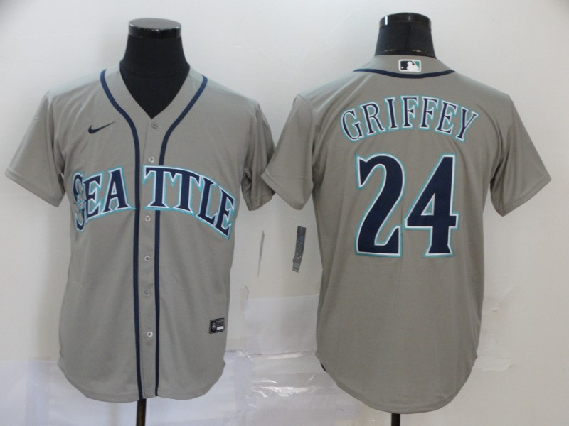 Men's Seattle Mariners #24 Ken Griffey Jr. Grey Stitched MLB Cool Base Nike Jersey