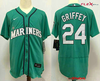 Men's Seattle Mariners #24 Ken Griffey Jr. Teal Green Stitched MLB Flex Base Nike Jersey