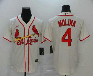 Men's St. Louis Cardinals #4 Yadier Molina Cream Stitched MLB Cool Base Nike Jersey