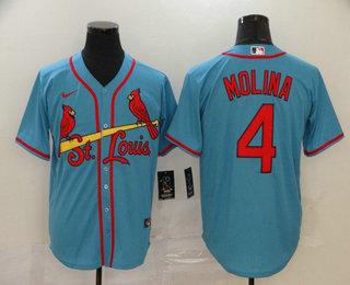 Men's St. Louis Cardinals #4 Yadier Molina Light Blue Stitched MLB Cool Base Nike Jersey