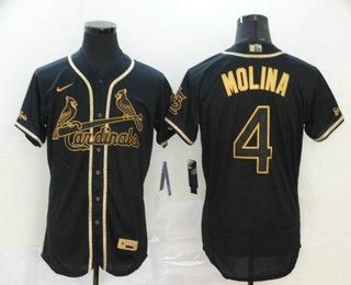 Men's St. Louis Cardinals #4 Yadier Molina Black Golden Stitched MLB Flex Base Nike Jersey