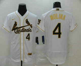 Men's St. Louis Cardinals #4 Yadier Molina White With Gold Stitched MLB Flex Base Nike Jersey