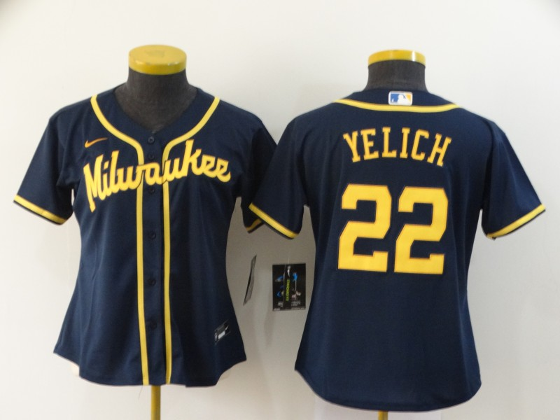 Women's Milwaukee Brewers #22 Christian Yelich Navy Blue Stitched MLB Cool Base Nike Jersey