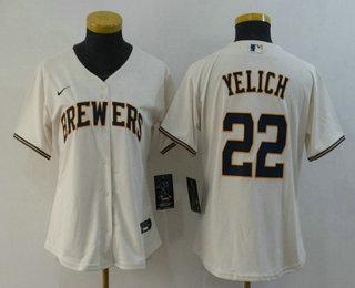 Women's Milwaukee Brewers #22 Christian Yelich Cream Stitched MLB Cool Base Nike Jersey