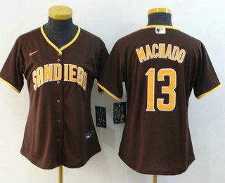 Women's San Diego Padres #13 Manny Machado Brown Stitched MLB Cool Base Nike Jersey