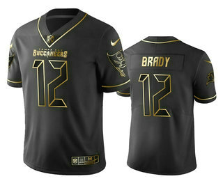 Men's Tampa Bay Buccaneers #12 Tom Brady Black Golden Edition Vapor Limitd Jersey