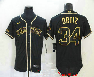 Men's Boston Red Sox #34 David Ortiz Black With Gold Stitched MLB Flex Base Nike Jersey