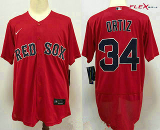 Men's Boston Red Sox #34 David Ortiz Red Stitched MLB Flex Base Nike Jersey
