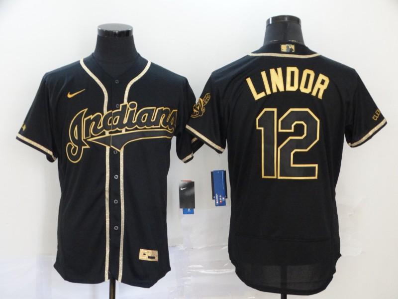 Men's Cleveland Indians #12 Francisco Lindor Black With Gold Stitched MLB Flex Base Nike Jersey
