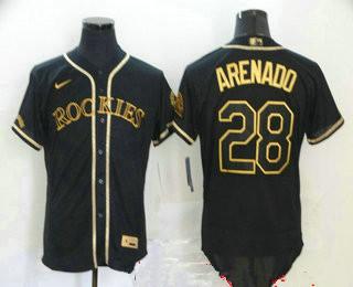 Men's Colorado Rockies #28 Nolan Arenado Black With Gold Stitched MLB Flex Base Nike Jersey