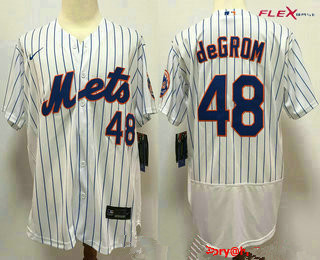 Men's New York Mets #48 Jacob deGrom White Stitched MLB Flex Base Nike Jersey